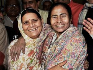 Mamata Banerjee with former Bihar CM Rabri Devi