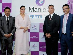 Lara Dutta with officials during the launch of Manipal Fertility