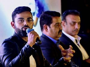 Virat Kohli addressing the audience at the book launch of his biography, 'Driven'  in New Delhi