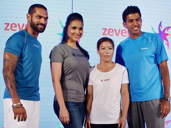 Mary Kom, Sikhar Dhawan, Lara Dutta, Mahesh Bhupathi, Mary Kom, Rohan Bopanna, Launch of Zeven sports brand, Lara Dutta at a launch event, Sports Person, New Delhi