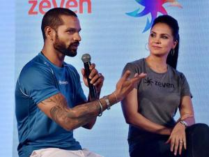 Sikhar Dhawan and actress Lara Dutta during the launch of Zeven sports brand in New Delhi