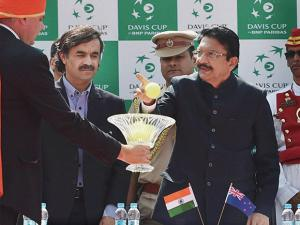 Maharashtra Governor C Vidyasagar Rao during the inaugural ceremony of the Davis cup at Balewadi stadium in Pune