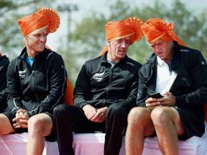 Michael Venus  and Finn Tearney  , along with non playing captain Alistair Hunt, attending the inaugural ceremony of the Davis Cup in Pune