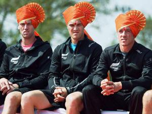 New Zealand tennis players Artem Sitak  Michael Venus and Finn Tearney attending the inaugural ceremony of the Davis Cup in Pune