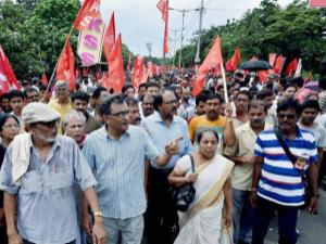Leader of the Opposition and CPI(M) State Secretary Surya Kant Mishra participates