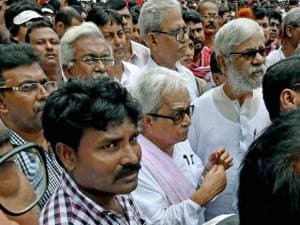 Leaders and activists during the Left Front's march to state secretariat to protest against farmers suicides