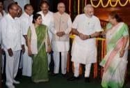 Prime Minister Narendra Modi with Lok Sabha Speaker Sumitra Mahajan, senior BJP leader LK Advani, External Affairs Minister Sushma Swaraj