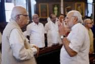 Prime Minister Narendra Modi with senior BJP leader LK Advani before paying tributes to Lokmanya Bal Gangadhar Tilak