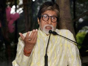 Amitabh Bachchan speaks during a press conference_on his 74th birthday in Mumbai