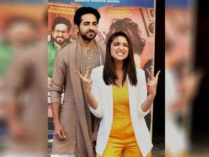 Ayushmann Khurrana and Parineeti Chopra during the trailer launch of  'Meri pyaari Bindu'