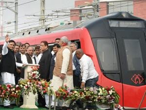 SP supremo Mulayam Singh Yadav, UP CM Akhilesh Yadav, SP's UP chief Shivpal Singh Yadav and party leader Azam Khan during a function to start the trial run of Lucknow Metro in Lucknow