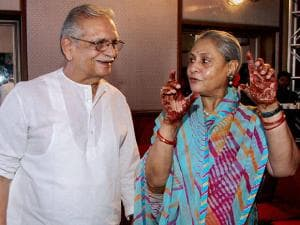 Jaya Bachchan and lyricist Gulzar share a light moment during the launch album 'Gulzar in conversation with Tagore'