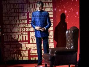 The wax statue of megastar Amitabh Bachchan at an event in New Delhi