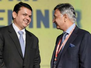 Devendra Fadnavis and Baba Kalyani, Chairman of Bharat Forge at the Maharashtra Investment Seminar during the Make In India Week