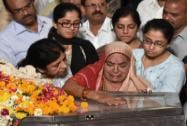 RR Patil's mother Bhagirathi pay homage to his son RR Patil at party office, who died at Lilavati hospital