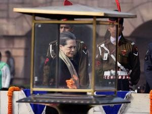 Congress President Sonia Gandhi  paying tribute to Mahatma Gandhi on his death anniversary at  Rajghat  in New Delhi