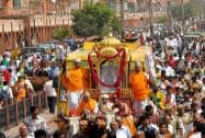 Devotees taking part in a procession organised on 'Mahavir Jayanti'