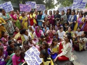 Mahila Congress protest against recent rape cases