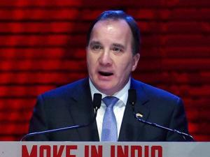 Prime Minister of Sweden Stefan Lofven addresses during the inauguration of the Make in India Week in Mumbai