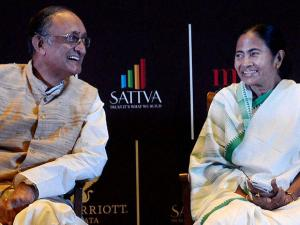 Mamata Banerjee with State Finance Minister Amit Mitra at the inauguration of JW Marriot's hotel