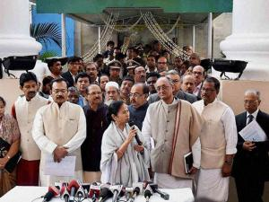 West Bengal Chief Minister Mamata Banerjee addresses media at the end of her administrative meeting with State Government officials