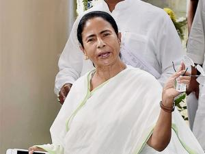 West Bengal Chief Minister Mamata Banerjee coming out after a meeting