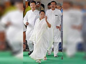 West Bengal Chief Minister Mamata Banerjee coming out after a meeting with doctors