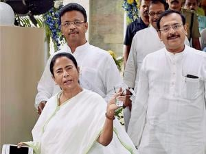 West Bengal Chief Minister Mamata Banerjee coming out after a meeting with doctors and owners of private hospitals and nursing homes
