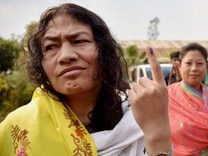 People's Resurgence & Justice Alliance (PRAJA)'s Irom Sharmila shows her finger marked with indelible ink