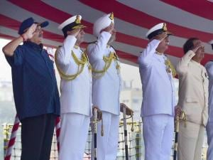 Union Defence Minister Manohar Parrikar with Navy chief Admiral R K Dhowan