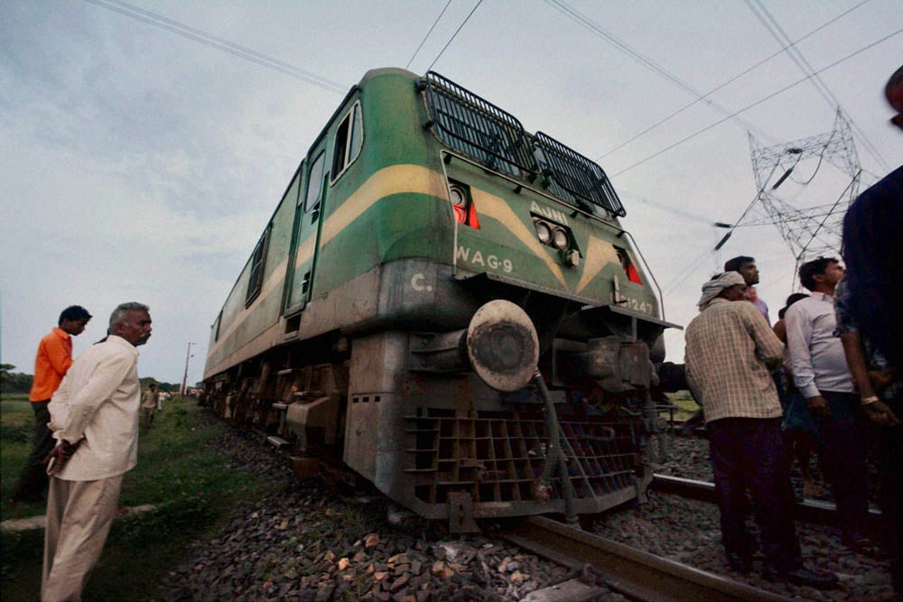 Pilot engine, Rajdhani express, derailed, Tuesday night,  Maoists, blown up, tracks, Rafignaj railway station, Bihar