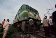 Pilot engine for Rajdhani express which was derailed on Tuesday night after Maoists blown up tracks near Rafignaj railway station