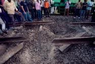 The railways track blown up by Maoists near Rafiganj railway station in Bihar