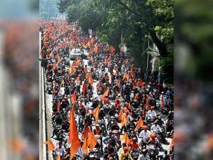 Maratha community organised a bike rally in Mumbai aerial view