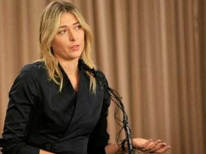 Tennis star Maria Sharapova speaks during a news conference in Los Angeles
