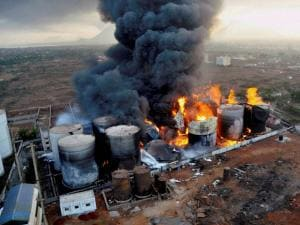 Smoke billowing out after a massive fire broke out at Biomax Fuels Limited (BFL), a bio-diesel manufacturing unit at Visakhapatnam Special Economic Zone (VSEZ), Duvvada area in Visakhapatnam (4)
