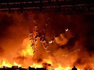 A massive fire broke out on Stage during a cultural event at the Make In India week in Mumbai 02
