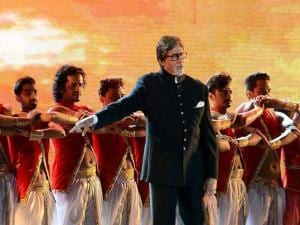 Amitabh Bachchan perform at a cultural event during the Make In India week in Mumbai