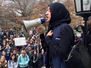 Eeman Abbasi speaks during a protest on the University of Connecticut campus against the election of Republican Donald Trump