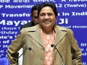 Bahujan Samaj Party (BSP) supremo Mayawati at a press conference on her 61st birthday