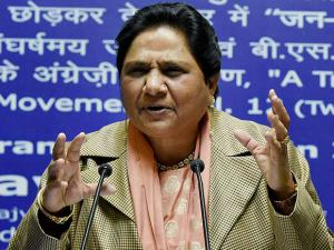 Mayawati at a press conference on her 61st birthday