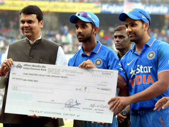 Chief Minister Devendra Fadnavis, CM Relief Fund, Maharashtra relief funds, Ajinkya Rahane, Rohit Sharma