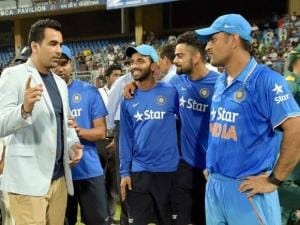 Former player Zahir Khan  with Indian team