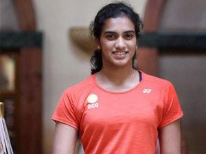 Badminton player P V Sindhu poses for a photo after a media interaction in Mumbai