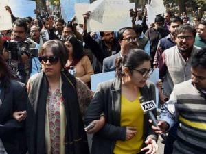 protest against the Monday's attack on media persons and JNU students by lawyers outside and inside Patiala House Courts