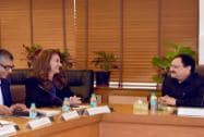 Melinda Gates, wife of Microsoft Chairman and CEO Bill Gates with Union Minister for Health and Family Welfare J P Nadda