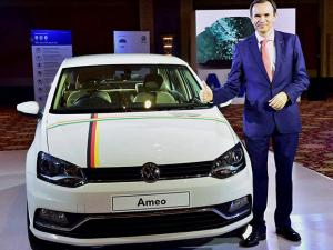 Michael Mayer, Director, Volkswagen Passenger Cars showcasing the 'Made in India and Made for India' – Ameo car in New Delhi