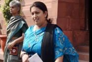 Union HRD Minister Smriti Irani  at Parliament House in New Delhi