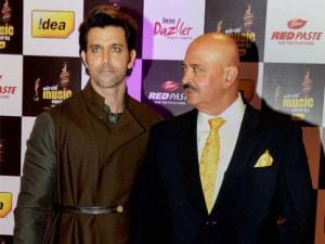 Hrithik Roshan with his father and actor Rakesh Roshan at the 8th Mirchi Music Awards