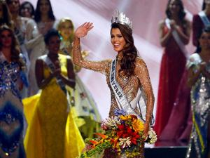 Iris Mittenaere of France waves to the crowd shortly after being proclaimed the new Miss Universe 2016 in coronation